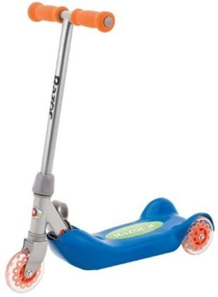 This is an image of kids wheels kick scooter in blue and orange colors