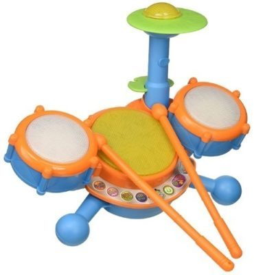 This is an image of baby beats drum set in blue and orange colors