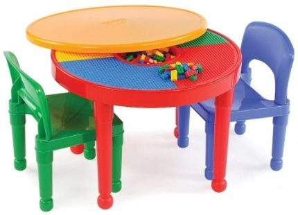 This is an image of baby plastic building activity table 2 in 1 lego table building kit
