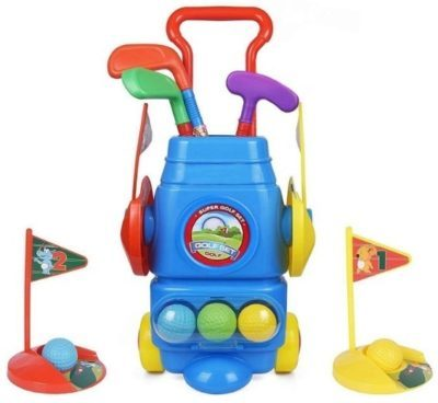 This is an image of kids golf club set in colorful colors