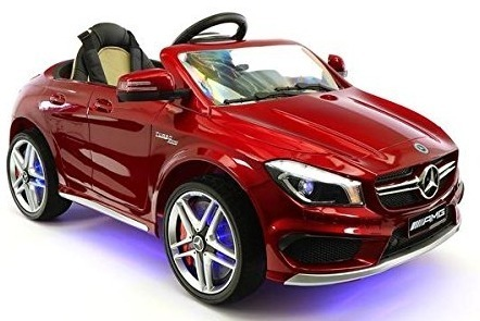 This is an image of kids mercedes car with remote control in red color