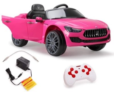 This is an image of kids ride on car in pink color with remote control