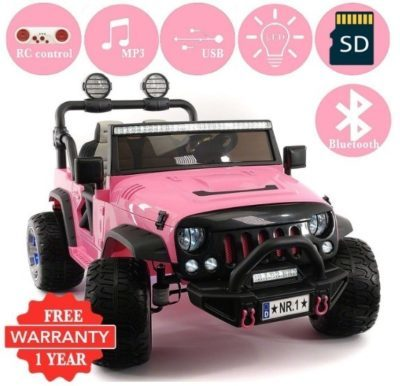 This is an image of kids ride on truck with remote control in pink color