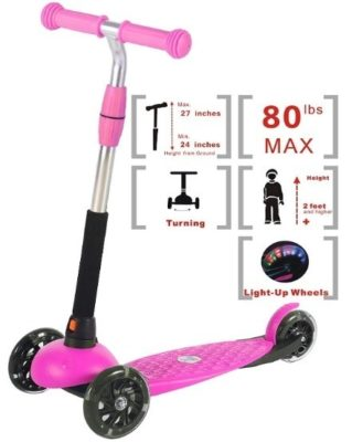 This is an image of baby girls scooter kids for girls in pink and black colors