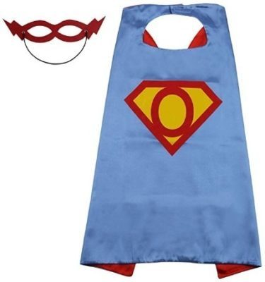This is an image of baby kids superhero cloths with cape and mask in blue and red and yellow colors