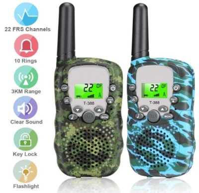 This is an image of kids walkie talkies 22 channel with green and blue camoflage colors