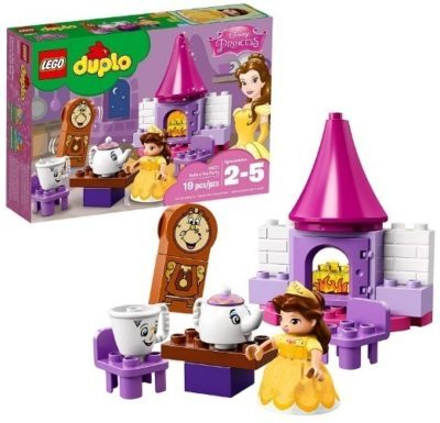This is an image of girls lego duplo princess belle tea party building kit