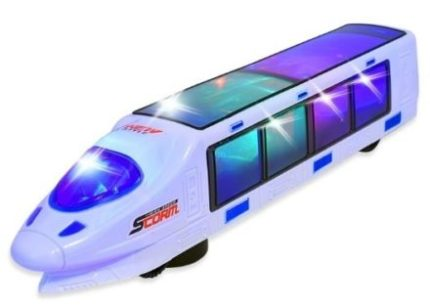 This is an image of kids eletric train toy with lightning lights and beautiful colors