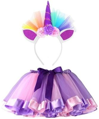 This is an image of girls little girls layered rainbow in pink and purple colors