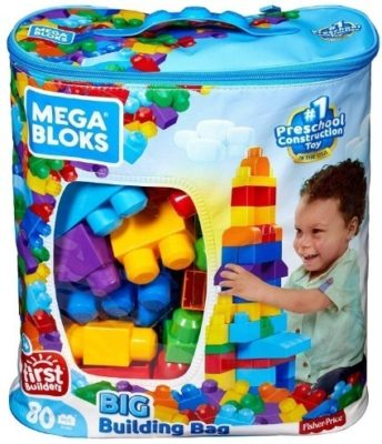 This is an image of kids big building bag of mega blocks