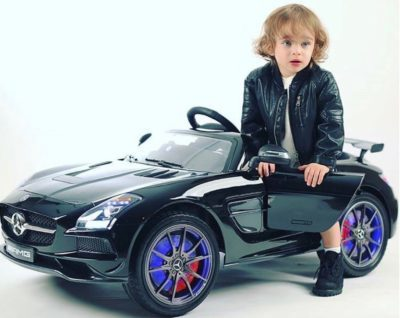 This is an image of kids mercedes benz car in black color