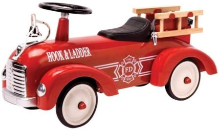 This is an image of kids metal speedster fire truck in red color