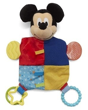 This is an image of mickey mouse plush and teether blanket for babies