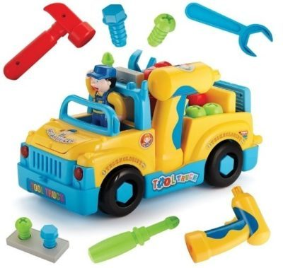 This is an image of kids toy tool truck with elecrtic drill and power tools