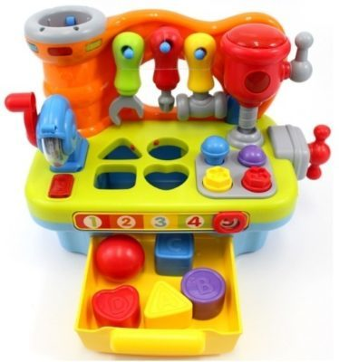 This is an image of baby learning workbench musical toy in colorful colors
