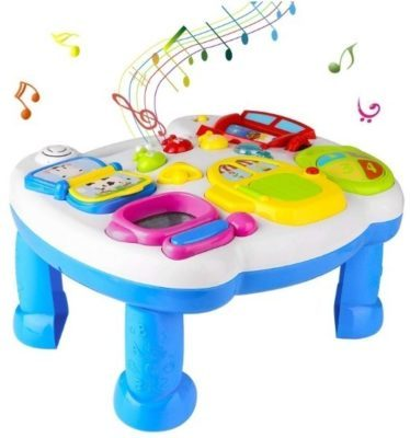 This is an image of baby musical table in white and blue colors