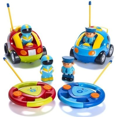 This is an image of kids remote control pack with 2 cartoon cars in blue and red colors