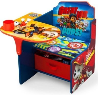 This is an image of baby chair deck with storage and beautiful graphics