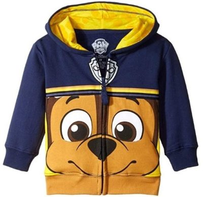 This is an image of kids paw patrol hoodies in blue and yellow color