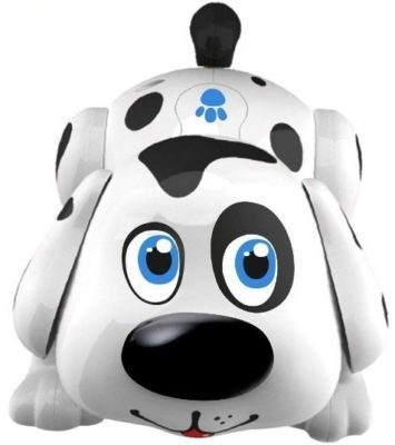 This is an image of baby pet dog interactive puppy in white and black colors
