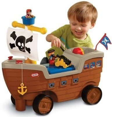 This is an image of baby pirate shipe 2 in 1 little tikes in brown color