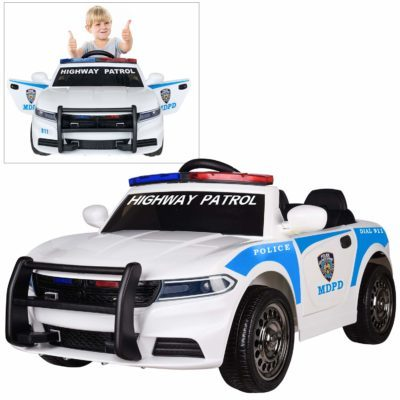 This is an image of kids police car ride on in blue and white colors