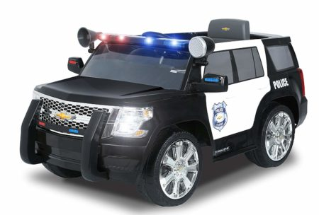 This is an image of kids police suv ride on toy in black color