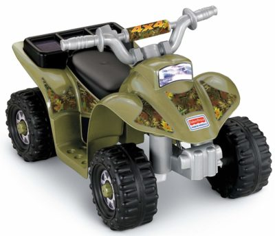 This is an image of kids power wheels camoflage in green color