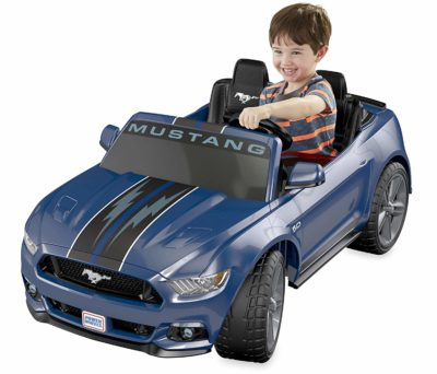 This is an image of kids power wheels ford mustang in blue color