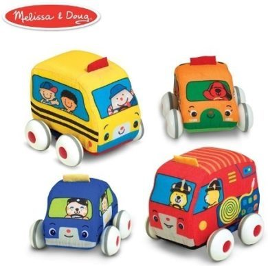 This is an image of baby pull back vehicles that have four cars