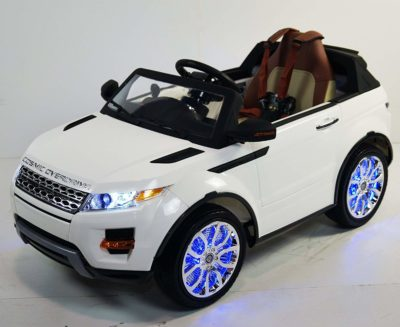 This is an image of kids range rover truck in white color