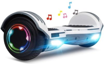 This is an image of kids hoverboard with music in white color and led wheels