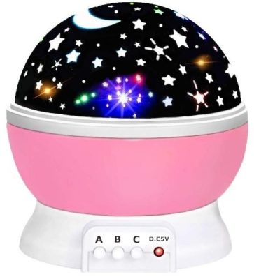 This is an image of baby light night with stars in pink color