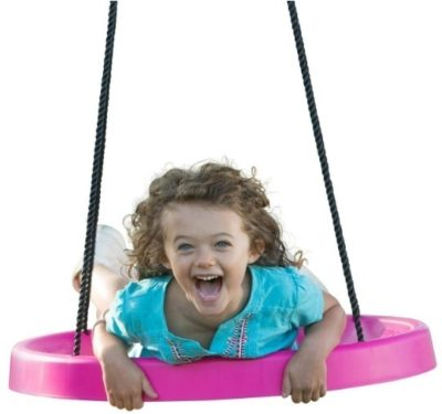 This is an image of kids spinner swing set in pink color