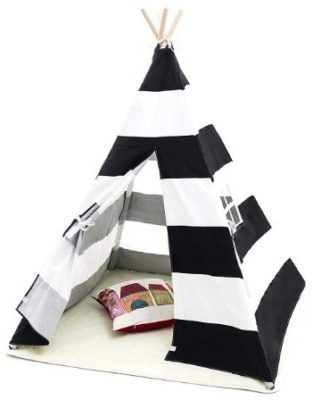 This is an image of baby white and black teepee tent