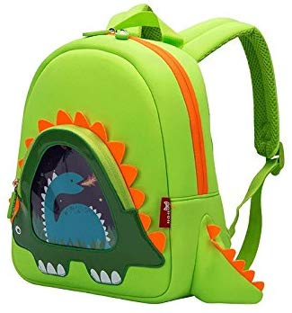 This is an image of baby green toddler dinosaur backpack