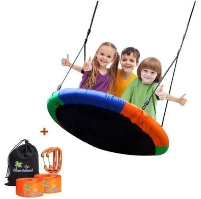 This is an image of kids tree swing set with haning ropes