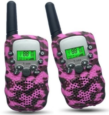 This is an image of girls walkie talkies for girls in pink camoflage