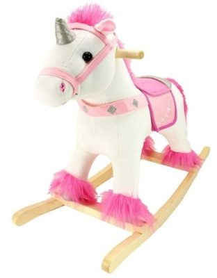 This is an image of baby girl wood ride on plush rocker in unicorn design