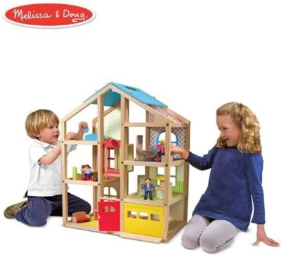 This is an image of girls wooden dollhouse furniture set