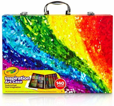This is an image of a 140-piece crayola with a colorful storage case.