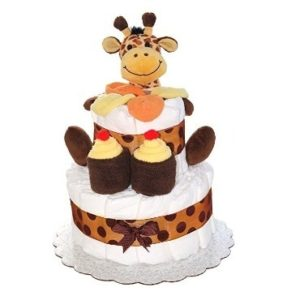 This is an image of boys mini diaper cake with 2 layers and giraffe
