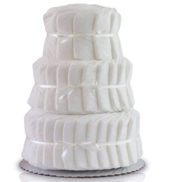 This is an image of boys diaper cake 3 layers in white color