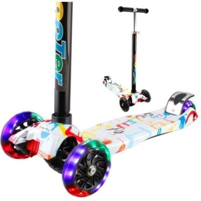 This is an image of boy's 3 wheel kick scooter in colorful colors