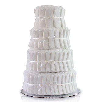 This is an image of boys diaper cake in white color had 4 layers