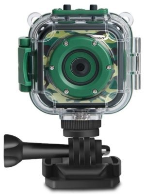 This is an image of kid's action camera in waterproof and camoflage green color