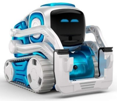 This is an image of kid's cozmo educational robot in blue and white colors