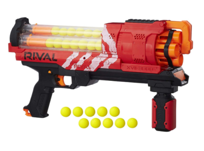 This is an image of a red Artemis Nerf toy gun.