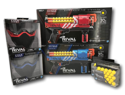 This is an image of a red and blue Artemis Nerf toy blaster and mask bundle.