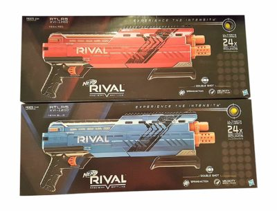 This is an image of a red and blue Atlas Nerf toy blaster set.